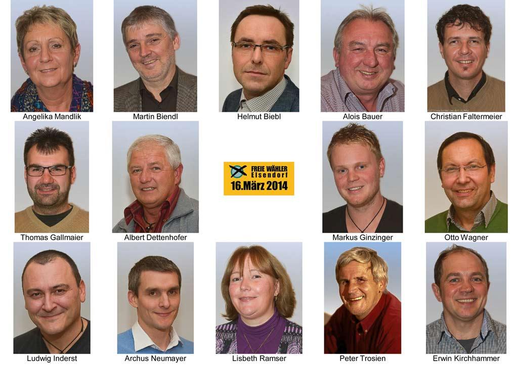 Gemeinderatskandidaten der Freien Wähler Elsendorf